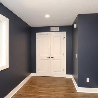 グランドラピッズの小さいトラディショナルスタイルのおしゃれなホームオフィス・書斎 (青い壁、ラミネートの床、茶色い床) の写真