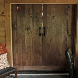 Sliding bard doors dark emerson rustic trestle table with sliding