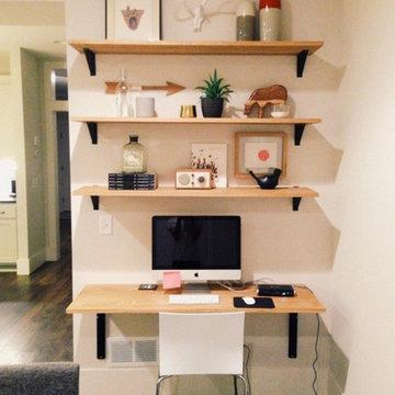 Solid White Oak Shelves with Black Steel Brackets