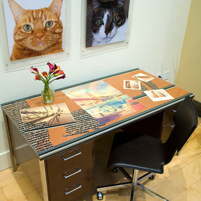 Example of a mid-sized trendy freestanding desk light wood floor home office design in San Francisco with no fireplace and beige walls