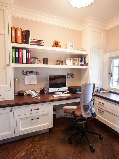 Example Of A Transitional Built In Desk Home Office Design In New York