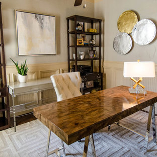 Sophisticated Mid-Century Modern Office Touches of Metallic Glam