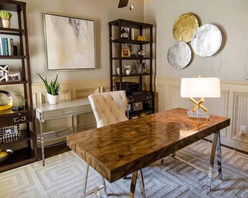 sophisticated mid century modern office touches of metallic glam