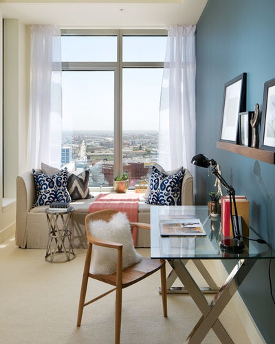 Contemporary Home Office by Michael Kelley Photography. 8 Twists on the Guest Room Office Combo