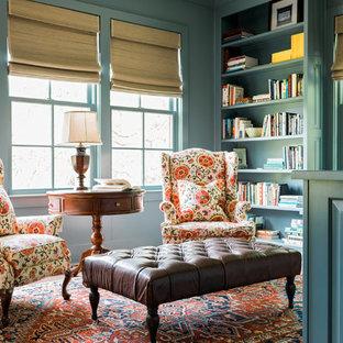 Example of a small farmhouse home office library design in Atlanta