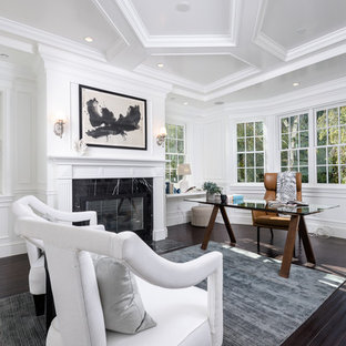 Inspiration for a large contemporary freestanding desk dark wood floor and brown floor study room remodel in Los Angeles with white walls, a standard fireplace and a tile fireplace