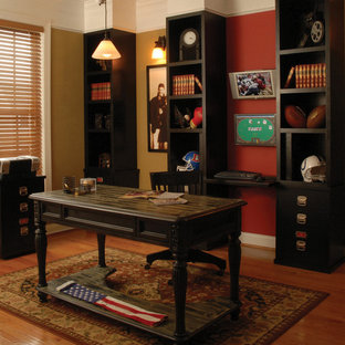 Mid-sized elegant freestanding desk medium tone wood floor study room photo in DC Metro with beige walls and no fireplace