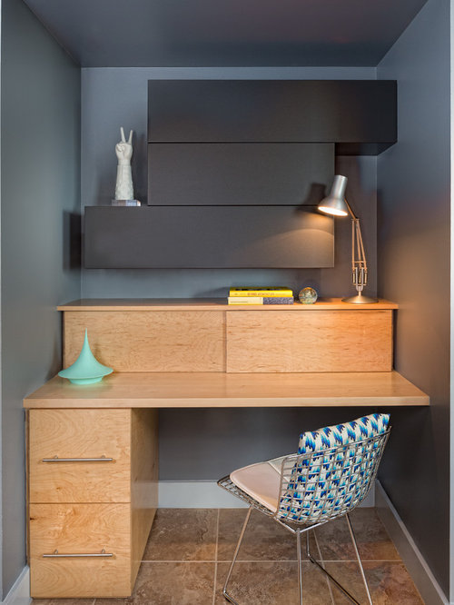 Home Office - Small Contemporary Built-in Desk Home Idea In Austin  With Gray N