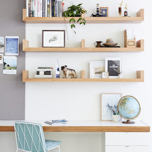 Home Office   Scandinavian Built In Desk Carpeted Home Office Idea In  Melbourne With White