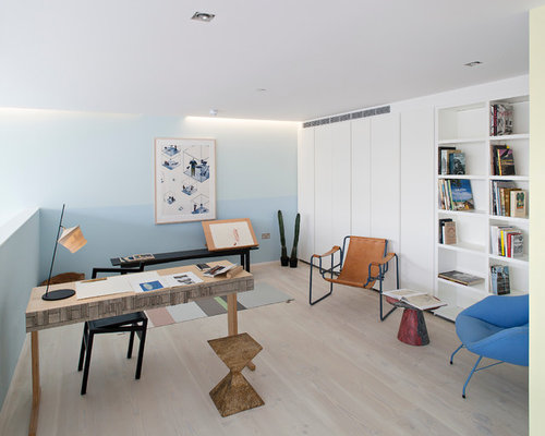 50 Stylish Scandinavian Home Office Designs: Color Blocking Walls