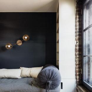 Неиссякаемый источник вдохновения для домашнего уюта: кабинет среднего размера в скандинавском стиле с библиотекой и синими стенами без камина