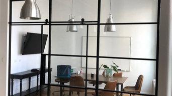 Steel &Glass Office Space with Suspended  Door