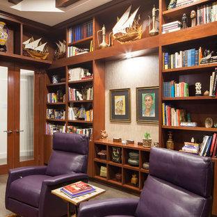 Inspiration for a zen dark wood floor home office remodel in Austin