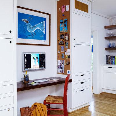 Home office - contemporary built-in desk home office idea in Birmingham