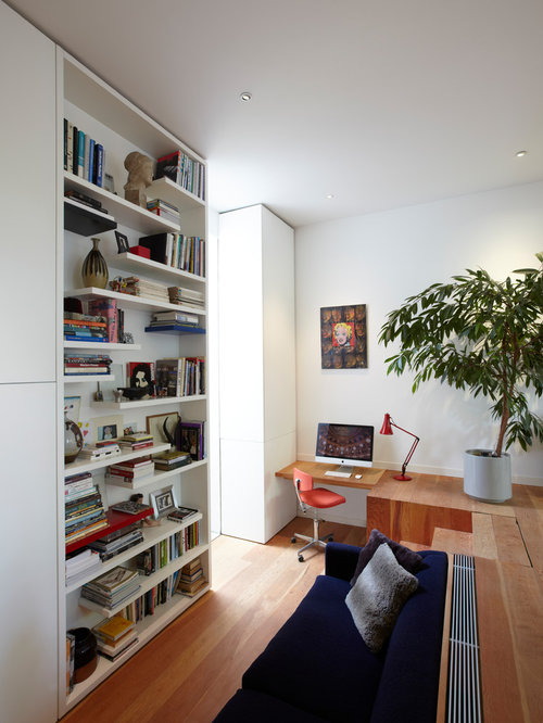 Inspiration For A Medium Sized Contemporary Home Office And Library In  London With White Walls,