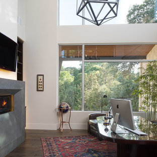 This is an example of a medium sized contemporary study in Austin with white walls, dark hardwood flooring, a ribbon fireplace, a freestanding desk and a concrete fireplace surround.