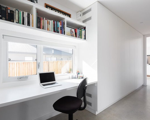 Design Ideas For A Modern Home Office In Canberra   Queanbeyan With White  Walls, Concrete