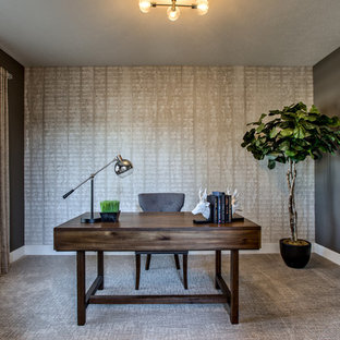 Example of a trendy home office design in Omaha