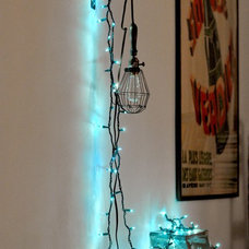 Eclectic Home Office string lights