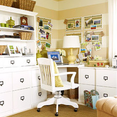 eclectic home office Striped Tan & White Office