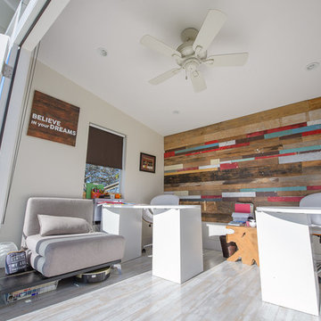 Studio Shed home office with custom interior walls