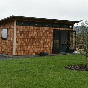 Studio Shed Office with Cedar Shake Siding