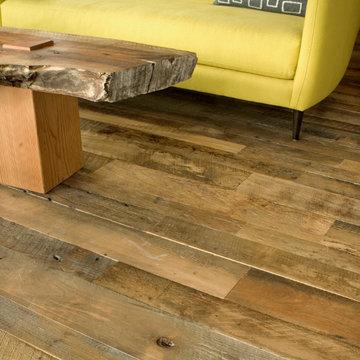 Studio Work Space with Reclaimed Hardwood Flooring