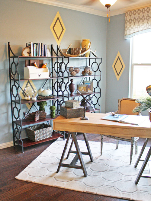 home office bookshelves. simple bookshelves eclectic freestanding desk dark wood floor home office photo in dallas with  blue walls to home office bookshelves a