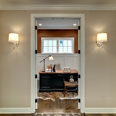 Inspiration for a timeless freestanding desk dark wood floor and brown floor home office remodel in Minneapolis