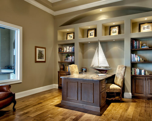 Light taupe walls houzz inspiration for a timeless built in desk medium tone wood floor home office remodel in aloadofball Gallery