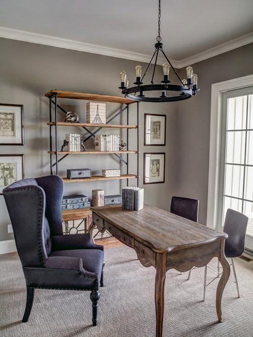 Landhausstil arbeitszimmer ideen design bilder houzz - Arbeitszimmer wandfarbe ...