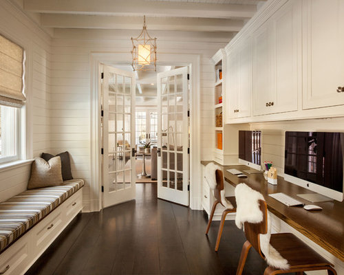 traditional study room design ideas, remodels & photos with white