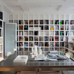 Modern home office design House Example Of Minimalist Freestanding Desk Home Office Library Design In New York With White Walls Houzz 75 Most Popular Modern Home Office Design Ideas For 2019 Stylish