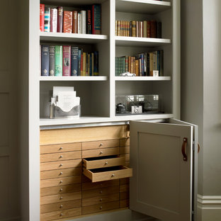 Study with Bookcases and Wall Paneling