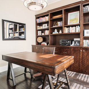 Elegant home office photo in Chicago with beige walls