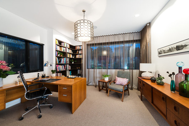 Midcentury Home Office by White Pebble Interiors