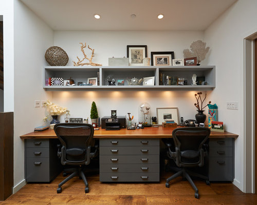 Inspiration For A Contemporary Built In Desk Home Office Remodel Los Angeles