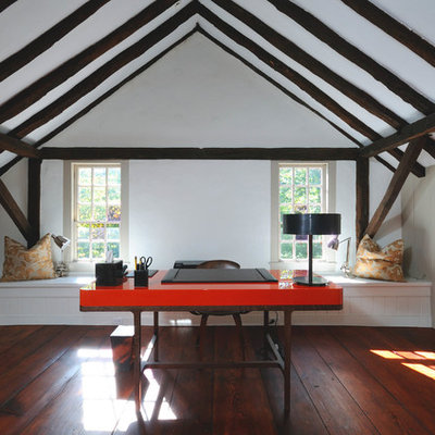 Study room - mid-sized traditional freestanding desk dark wood floor study room idea in Other with white walls