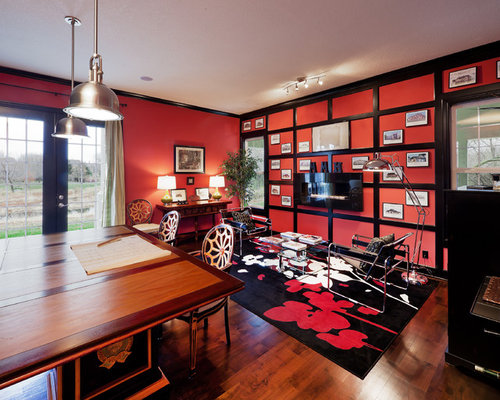 Red Black Turquoise Aqua White Home Office and Library Design ...