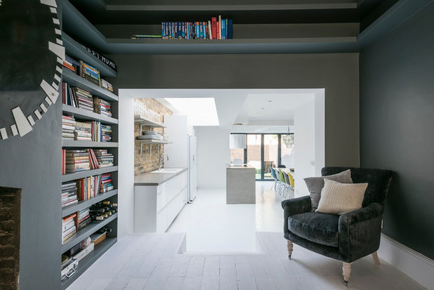 Transitional Home Office & Library by GDL Property