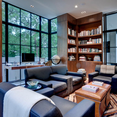 Example of a trendy freestanding desk home office design in Dallas