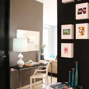 Trendy freestanding desk white floor home office photo in New York