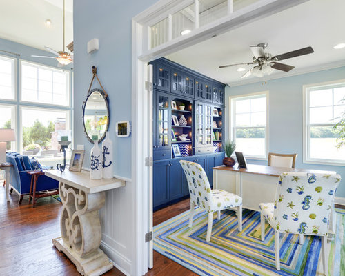 Beach theme home office design ideas remodels photos for Beach theme home decorations