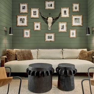 サンフランシスコのおしゃれなホームオフィス・仕事部屋 (緑の壁) の写真