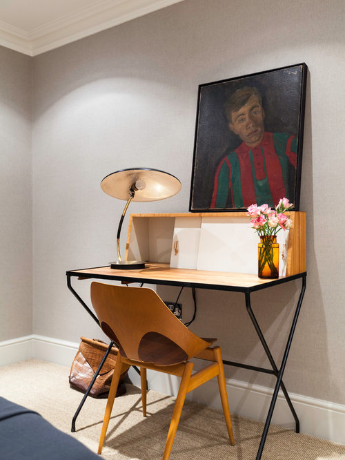 Design Ideas For A Medium Sized Modern Study In London With Grey Walls Carpet And