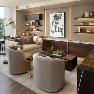 Inspiration for a contemporary freestanding desk dark wood floor and brown floor home office remodel in San Diego with gray walls