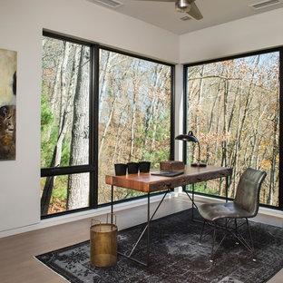 Modelo de despacho contemporáneo, de tamaño medio, sin chimenea, con paredes blancas, suelo de madera clara y escritorio independiente