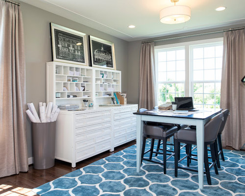 Exceptional Example Of A Classic Freestanding Desk Dark Wood Floor Craft Room Design In  DC Metro With