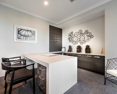 Inspiration For A Mid Sized Contemporary Study Room In Perth With White  Walls, Carpet
