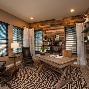 Trendy freestanding desk brown floor home office photo in Phoenix